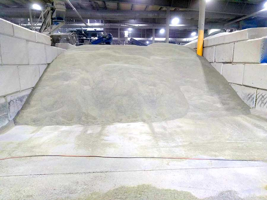 crushed glass abrasive ready for loading